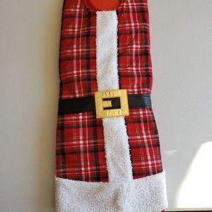 """Santa Christmas Tree Skirt. Red & Black Plaid. 48"""""""